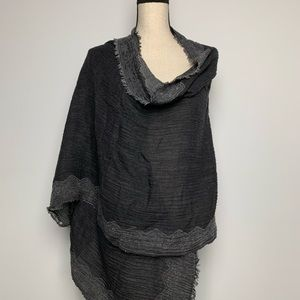 NWT Eileen Fisher Airy Jacquard Borders Gray Scarf